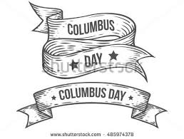engraved ribbon happy columbus day vector stock vector 485974378