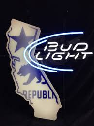 bud light lighted sign bud light california republic neon beer sign good working condition