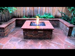 brick fire pit seat wall and flagstone patio fire pits