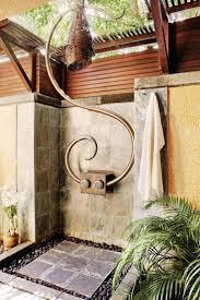 outside bathroom ideas beautiful tropical outdoor shower tile floor palm tree metal