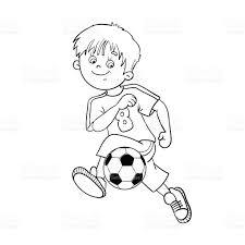 coloring page outline of a soccer boy stock vector art 493179572