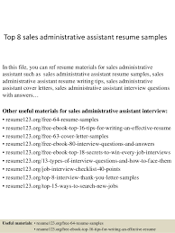 Resume Examples Executive Assistant by Top 8 Sales Administrative Assistant Resume Samples 1 638 Jpg Cb U003d1428556598
