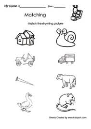 match rhyming figures activities sheet lesson plans worksheets