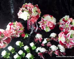 silk wedding flower packages pink and green tropical silk wedding bouquets flower package