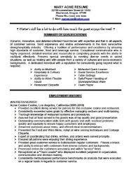Resume Template For Waitress Resume Waitress Example Resume Objective Example Bartender Resume