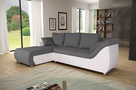 canapé contemporain canapé d angle contemporain convertible en tissu anthracite pu blanc