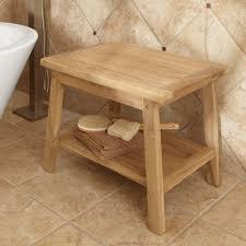 bathroom oak teak shower bench with merola tile wall and