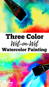 three color wet on wet watercolor painting for kids rhythms of play