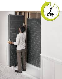 Bathroom Shower Wall Panels Revolutionary Shower Bathroom Remodel Look Like Tiles By Maax