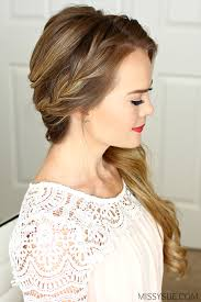 side swoop hairstyles braided side swept prom hairstyle missy sue