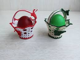 home decoration handmade 2 lace crochet easter egg candy baskets home decor handmade