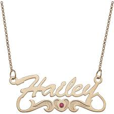 14kt gold name necklace personalized script name with birthstone heart 14kt gold