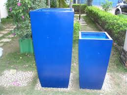 fancy outdoor tall square planters with toulan planter cobalt blue