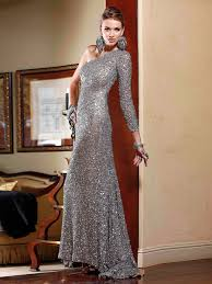 alluring asymmetrical neck silver one side long sleeve sequined