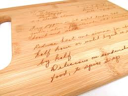 how to engrave a cutting board handwritten engraved cutting board personalized bamboo
