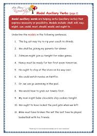 grade 3 grammar topic 40 modal auxiliary words worksheets lets