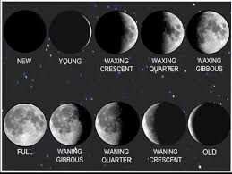 moon phases in picture waxing and waning crescent and gibbous