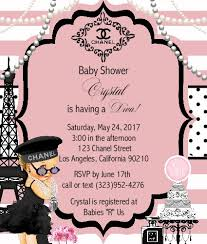 chanel baby shower girl baby shower invitations events unique invitations by cheryl