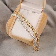silver gold bracelet images Gold silver crystal rhinestone chain bracelet women jewelry jpg