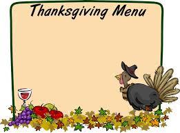 thanksgiving menu clip cliparts