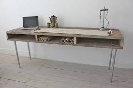 reclaimed wood writing desk ellie reclaimed wood desk with steel legs by urban grain