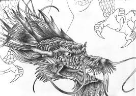 black ink chinese dragon head tattoo design