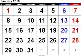 january 2018 printable calendar printable calendar templates