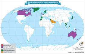map types map showing types of monarchies around the our