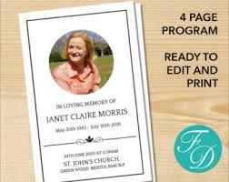 funeral memorial programs funeral program etsy
