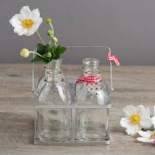 glass milk bottle vase set of four vintage style mini milk bottles in a crate by the