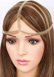 forehead headbands fashion bohemian fishbone chain headband women gold tone headbands
