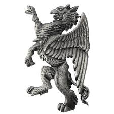 tyler and tyler heraldic griffin pewter lapel pin grey grey