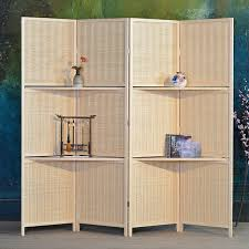 Folding Room Divider Bamboo 4 Panel Folding Room Divider Screen W Removable Storage
