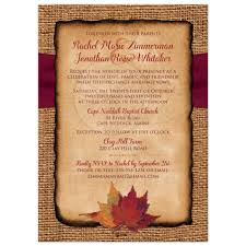 burlap wedding invitations rustic country wedding invitation autumn leaves on faux burlap