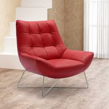 amazon com medici tufted leather modern accent chair red