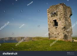 ruins old small castle cliffs moher stock photo 77411611