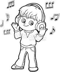 coloring book boy listening music headphones vector