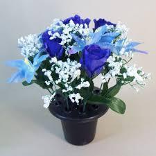 blue lilies flowers filled grave pot blue lilies and rosebuds ag063
