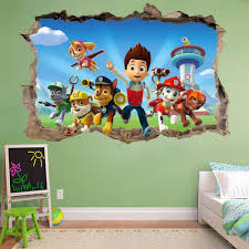 Childrens Bedroom Wall Stickers Removable Paw Patrol 3d Wall Sticker Smashed Bedroom Kids Decor Vinyl
