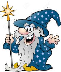 vector cartoon illustration of a happy old wizard magic man