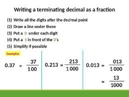 terminating decimals and recurring decimals into fraction