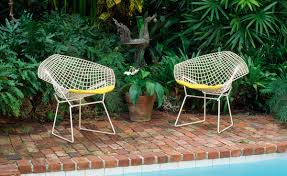 Wire Patio Chairs by Bertoia Small Diamond Chair With Seat Cushion Hivemodern Com