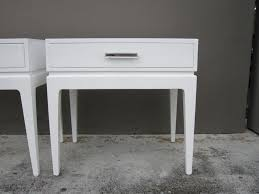 Vintage Nightstands Pair Of Vintage White Lacquer Bedside Tables Nightstands At 1stdibs