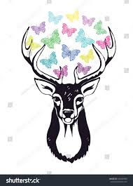 deer decorated colored ornamental butterflies stock vector