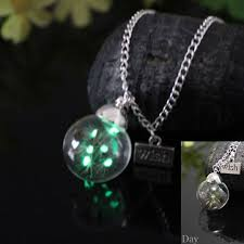 glass ball necklace images Jephne glow in the dark real dandelion necklace wish orb glass jpg