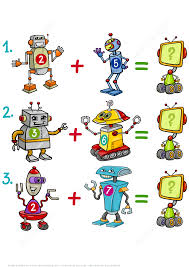 addition of robots math puzzle worksheet free printable puzzle games