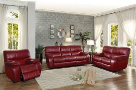 homelegance pecos reclining sofa set leather gel match red