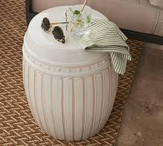 Ceramic Accent Table Reeded Ceramic Accent Table Pottery Barn