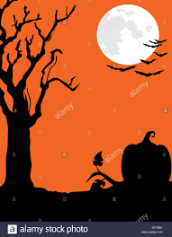 silhouette of a halloween style landscape with a bare tree
