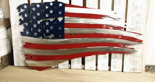 Us Flag Stripes Number Ss Powder Coated American Flag Tattered Rustic Sign Mantle